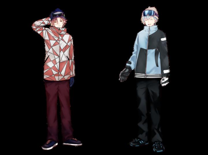 イベントメインキャラクター四十万レン(左)、水端爽誠(右)