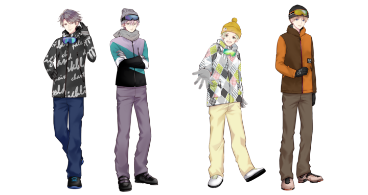 登場キャラクター 左から生徒会 久宝院一、京文正、サッカー部 冬越太陽、扇野敬思